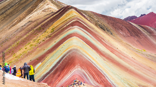 Views from the peak of the Vinicunca mountain (Rainbow mountain) Canvas Print