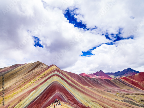 Poster South America Country Views from the peak of the Vinicunca mountain (Rainbow mountain)