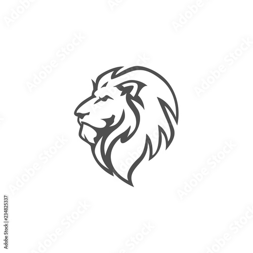 Fototapety, obrazy: Angry Lion Head Black and White Logo, Sign, Vector Design