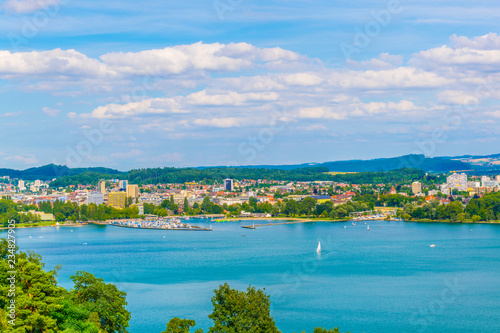 Cityscape of Biel/Bienne behind Bielersee in Switzerland Canvas Print