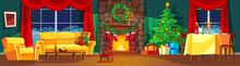 Beautiful, Bright, Festive Interior Of Living Room, New Year, Christmas.