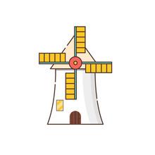 Vector Cartoon Flat Windmill I...