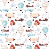 Watercolor aircraft baby pattern - 234835718