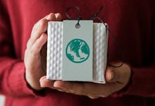 Green Globe Drawn On A Gift Box Card