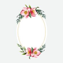 Hellebore Flower Frame Painted...
