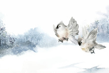 Tufted Titmouse Bird In Wintertime Watercolor Vector