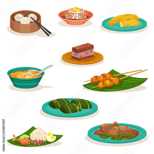 Cuadros en Lienzo Flat vector set of traditional Malaysian dishes