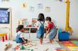 Leinwandbild Motiv Young children enjoying in the playroom