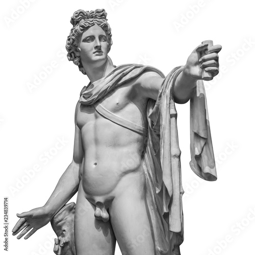 Fotobehang Historisch geb. Famous roman greek copy of Apollo di belvedere sculpture isolated on white background