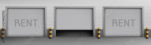 Fotografie, Obraz Vector exterior concept background with garage boxes for rent, storage rooms for car parking