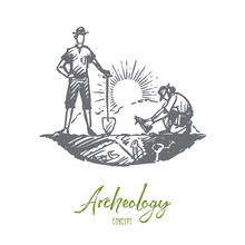 Archeology, Ancient, Luck, Artifacts, Fossil Concept. Hand Drawn Isolated Vector.