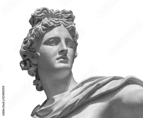Fényképezés Portrait of a plaster statue of Apollo isolated on white