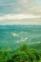 View Sunrise Light Morning Doi Samer Dao At Sri Nan National Park From Nan Province, Thailand