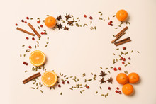 Frame Made From Ingredients For Tasty Mulled Wine On White Background