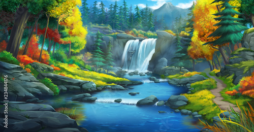 Foto auf AluDibond Blau türkis The Waterfall Forest. Fiction Backdrop. Concept Art. Realistic Illustration. Video Game Digital CG Artwork. Nature Scenery.