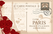 Retro Postcard With Eiffel Tower In Paris, France. Romantic Vector Postcard In Vintage Style With Red Roses, Postmark And Words I Love Paris On The Background Of Old Manuscript With Spots
