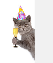 Cat In Birthday Hat Holding Gl...