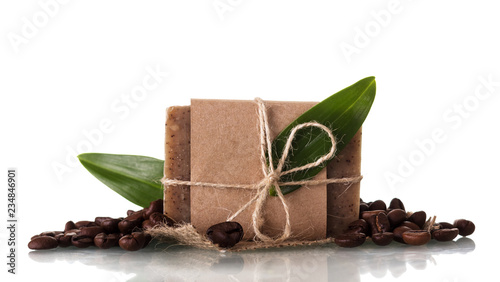Valokuva  Handmade soap with coffee aroma isolated on white