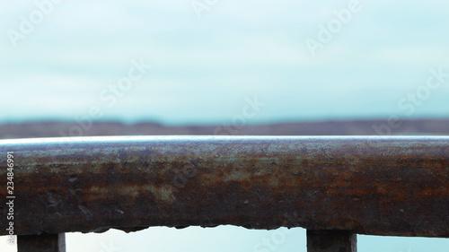 Fototapeta Railings of the bridge blue sky  obraz na płótnie