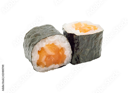 Tablou Canvas japanese salmon maki sushi roll isolated on white background with clipping path