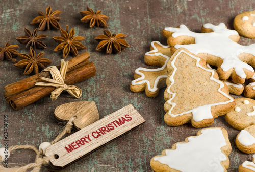 Homemade Christmas Biscuits Star Anise And Cinnamon On Rustic