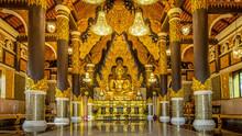 Golden Buddha In A Magnificent Church   At Wat Prathat Doi Prachan, Lampang Thailand NOV 18 2018