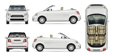 Mini Convertible Car Vector Mockup On White For Vehicle Branding, Corporate Identity. View From Side, Front, Back, And Top. All Elements In The Groups On Separate Layers For Easy Editing And Recolor.