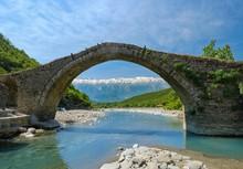Ottoman Stone Arch Bridge Ura E Kadiut, River Lengarica, Lengarice, Near Permet, National Park Hotova-Dangell, Qar Gjirokastra, Gjirokaster, Albania, Europe