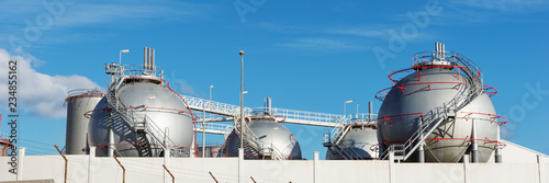 Photo  Oil or fuel storage tanks in industrial area