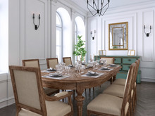 Luxury Classic Interior Of Dining Room, Kitchen And Living Room With White And Brown Furniture And Metal Chandeliers.