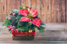 Christmas Poinsettia Flower Table Decoration.