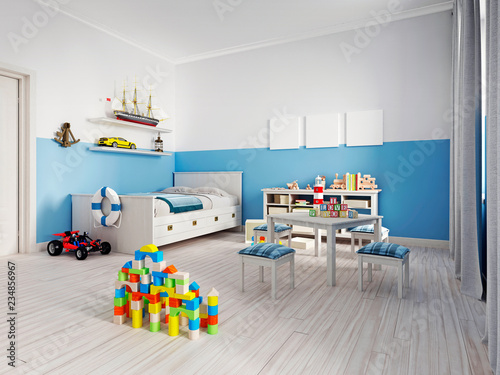 Fotografía  Cozy modern children's room decor with white furniture, floor and colorful additions and toys