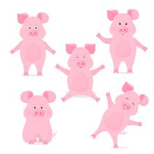 A Set Of Cute Piggy Cartoon Ch...