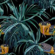Seamless Pattern With Yellow Snakes And Blue Tropical Plants. Colorful Wallpaper On A Tropical Theme On Black Background.
