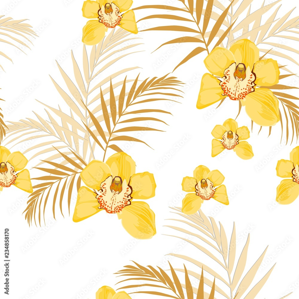 Yellow orchids, exotic yellow tropical leaves. Seamless pattern. White background.