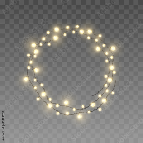 Christmas Fairy Lights Transparent.Vector Twisted In Circle Realistic Yellow Light Garlands