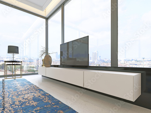 Photo TV unit beige with black accents with retractable TV and a large window decor