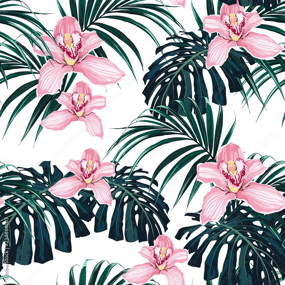 Seamless tropical pattern, vivid tropic foliage, with monstera leaf, palm leaves, pink orchid flowers in bloom. Modern bright summer print design.
