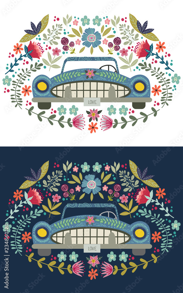 Hand drawing cute cartoon car with a floral elements and patterns. Doodle flat