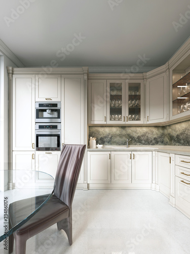 Modern Art Deco Kitchen With Clic Elements Gl Facade And Built In Liances Interior Beige Colors