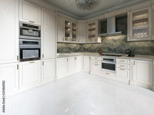 Modern Art Deco Kitchen With Clic Elements Gl Facade And Built In Liances