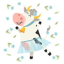 Cute Cow Dancing In Blue Skirt...