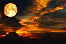 Blood Moon On Colorful Cloud And Rainbow Sky