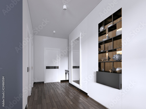 Fotografia Hallway corridor in bright white colors with doors and built-in true niche with shelves and decor