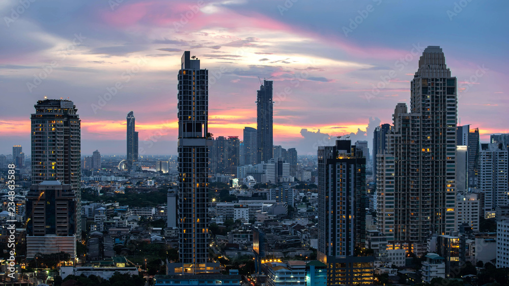 Fototapeta Bangkok City - Aerial view  beautiful sunset  Bangkok city downtown skyline of Thailand , cityscape at night  , landscape Bangkok Thailand