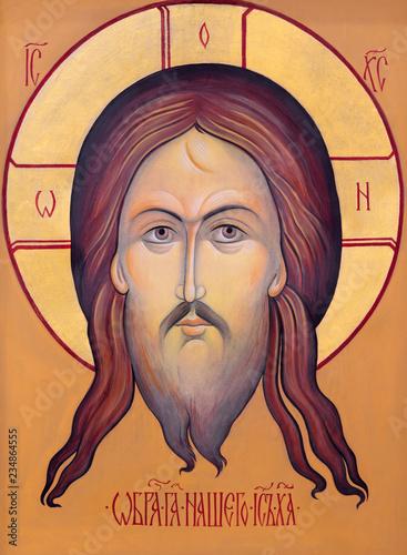 PRAGUE, CZECH REPUBLIC - OCTOBER 18, 2018: The icon of Face of Christ in church kostel Svaté Kateřiny Alexandrijské.