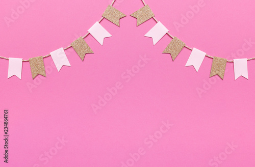 Party flags garlands set on pink background. Holiday design. - 234864761