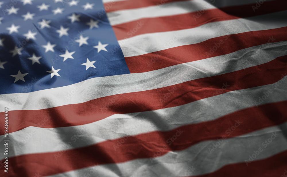 Fototapety, obrazy: United States of America Flag Rumpled Close Up