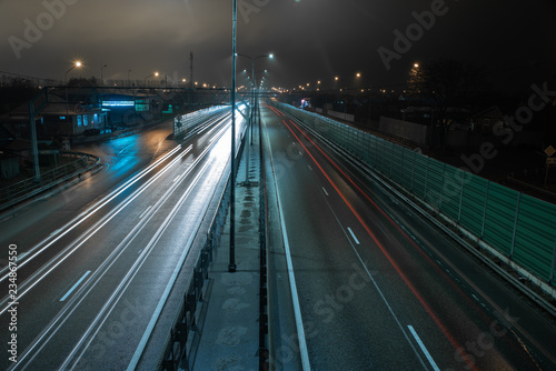 Foto op Plexiglas Nacht snelweg Traffic on the night highway