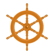 Wooden Ship Wheel. 3D Effect Vector